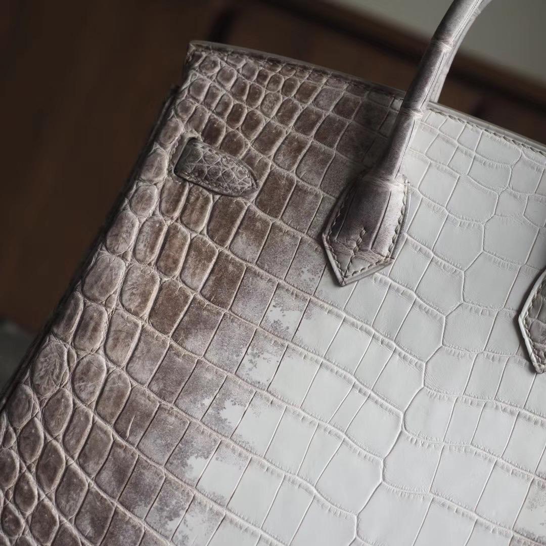 爱马仕包包 Hermes Birkin 25CM 喜马拉雅 雾面两点鳄鱼 银扣